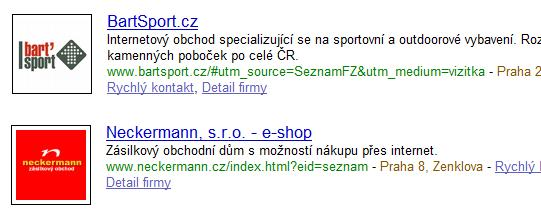 Měřící parametry na Firmy.cz